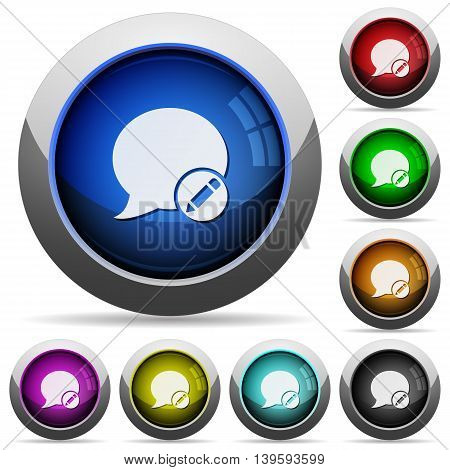 Set of round glossy Moderate blog comment buttons. Arranged layer structure.