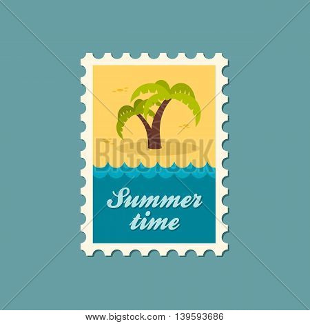 Palm tree vector stamp. Beach. Summer. Summertime. Holiday. Vacation eps 10