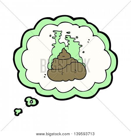 freehand drawn thought bubble cartoon gross poop