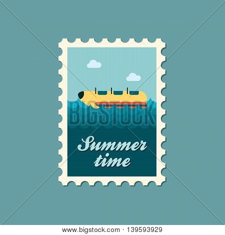 Yellow banana boat vector stamp. Beach. Summer. Summertime. Holiday. Vacation ride water sport eps 10
