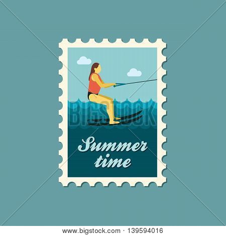 Water skiing vector stamp. Beach. Summer. Summertime. Holiday. Vacation ride water sport eps 10