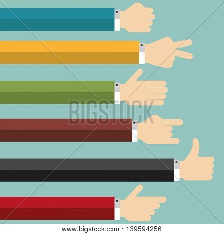 Hands Collection, Flat Design Vector illustration