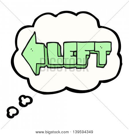 freehand drawn thought bubble cartoon left symbol