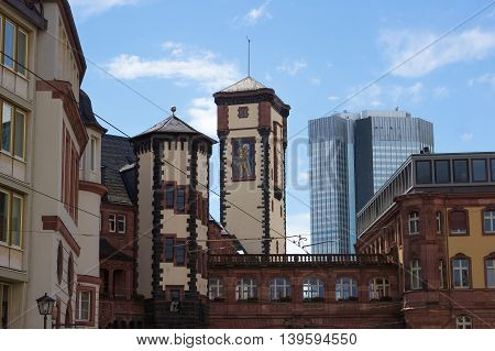 Frankfurt, Germany - June 15, 2016: Ratskeller - typical architecture in Frankfurt am Main old town, Hessen, Germany