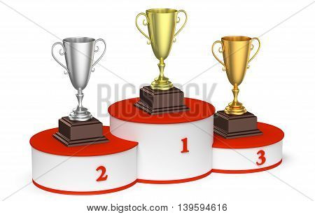 Sports winning competition and championship success concept - golden silver and bronze winners trophy cups on round sports pedestal white winners podium with red stairs 3d illustration