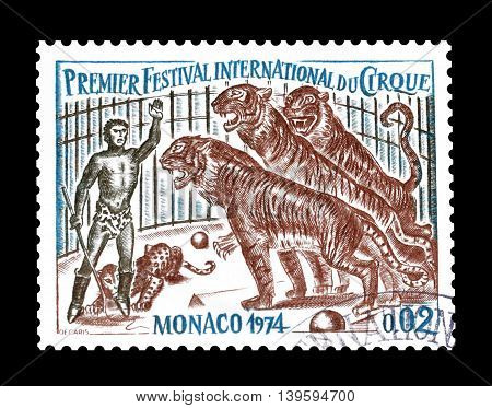 MONACO - CIRCA 1974 : Cancelled postage stamp printed by Monaco, that shows Circus.