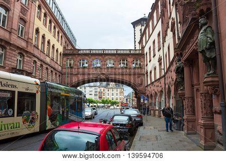 Frankfurt, Germany - June 15, 2016: Ratskeller - typical architecture in Frankfurt am Main old town, Hessen, Germany
