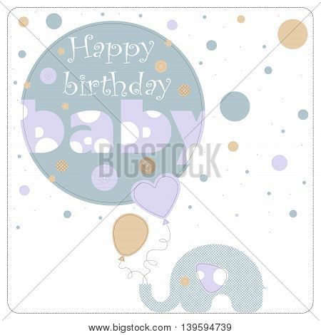 Greeting card for birthday child. Depicts an elephant holding balloons and blue circles of varying size. On the largest circle the phrase happy birthday baby.