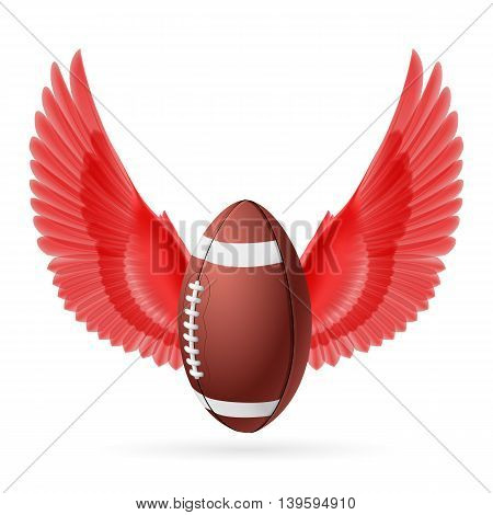 Realistic ball for American football with red wings emblem