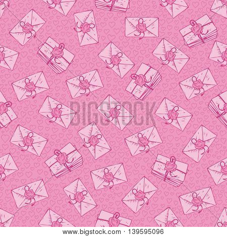Seamless Vector Pattern. Pink Envelopes with Love Letters