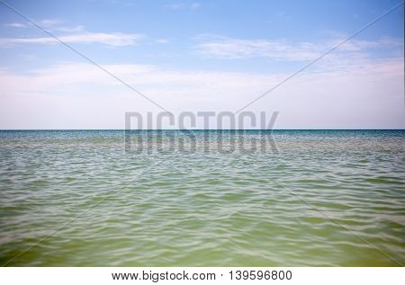 Calm on the vast desert with sea green waves summer