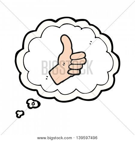 freehand drawn thought bubble cartoon thumbs up sign