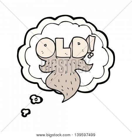 freehand drawn thought bubble cartoon old sign