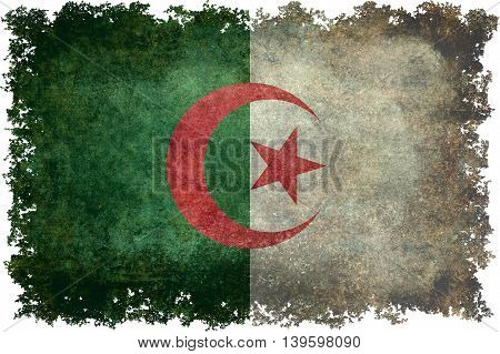 National flag of Algeria (officially The People's Democratic Republic of Algeria) with distressed textures and edges.