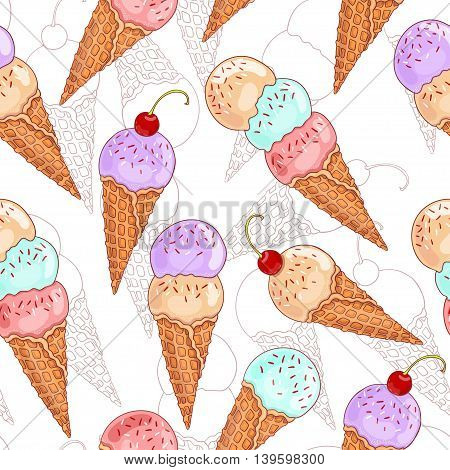 Seamless cute pattern with ice cream. Vector illustration.