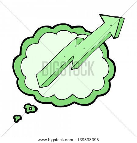 freehand drawn thought bubble cartoon arrow up trend