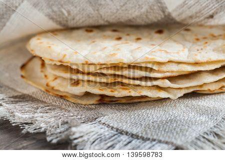 Mexican tortillas freshly baked a the pita.