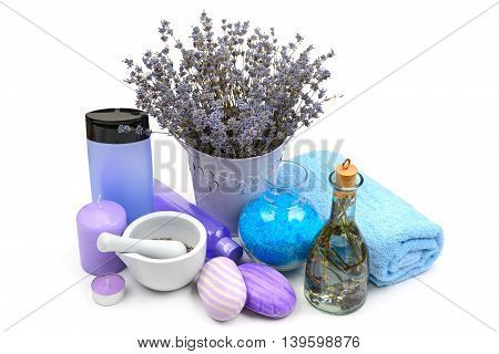 lavender scented candles soap and shampoo isolated on white background
