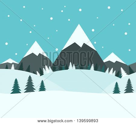 Beautiful snowy winter mountain landscape with fir trees and snow falling on blue sky background. EPS 8 vector illustration no transparency