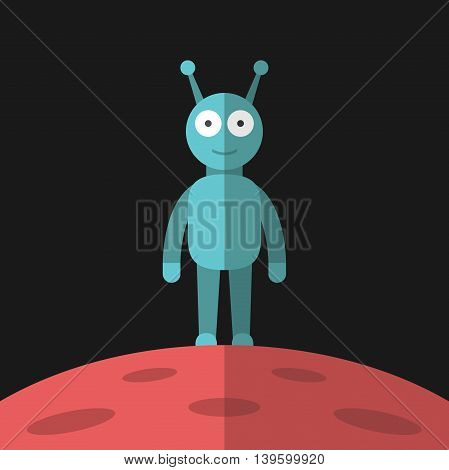 Funny smiling blue alien standing on red planet with craters on dark black background. Life science outer space and universe concept. EPS 8 vector illustration no transparency