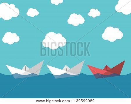 Red paper boat leading white ones sailing in sea on blue sky background. Leadership success teamwork and management concept. EPS 10 vector illustration transparency used