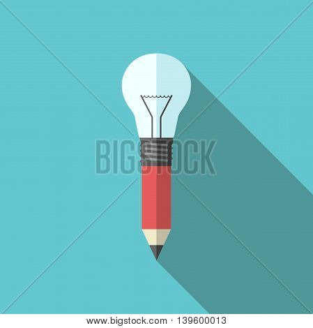 Combined pencil-lightbulb on turquoise blue background with long shadow. Flat style. Creativity design education drawing inspiration and idea concept. EPS 8 vector illustration no transparency