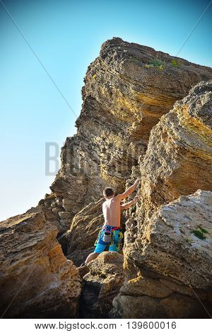 Male Climber On Mountains
