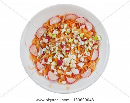 Sour summer salad with chopped vegetables in a bowl