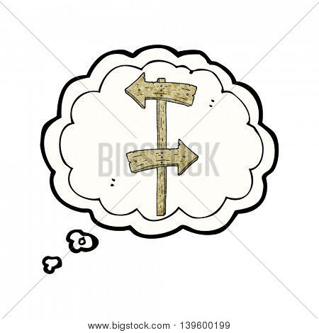 freehand drawn thought bubble textured cartoon wooden direction sign