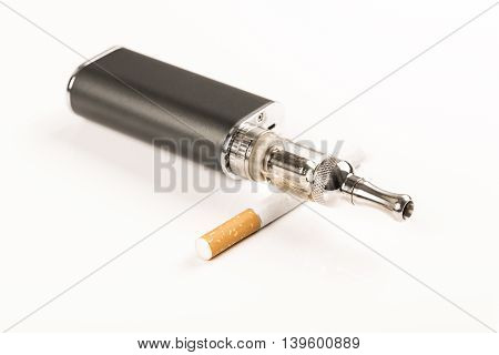 electronic cigarettes and tobacco on white background stop smoking message