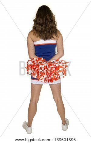 Teen Girl Cheerleader Standing Wearing A Blue And Orange Outfit