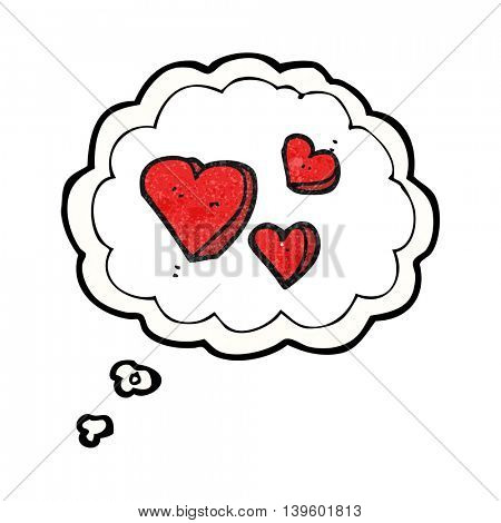 freehand drawn thought bubble textured cartoon hearts