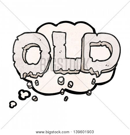 freehand drawn thought bubble textured cartoon word old