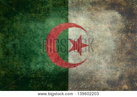 National flag of Algeria (officially The People's Democratic Republic of Algeria) with Distressed textures