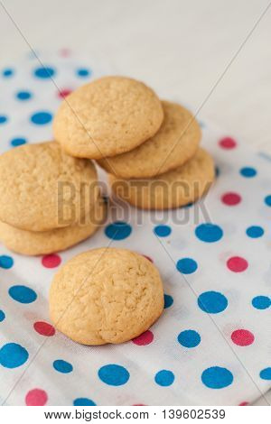 grentemskoe round cookies on colorful a napkin.