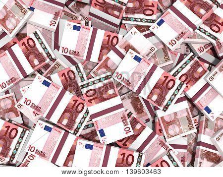 Ten euro banknotes  on white background. 3D illustration.