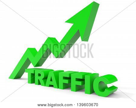 Graph up traffic arrow on white background. 3D illustration.