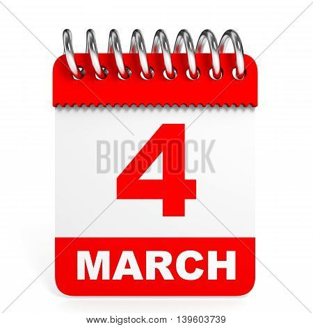 Calendar On White Background. 4 March.