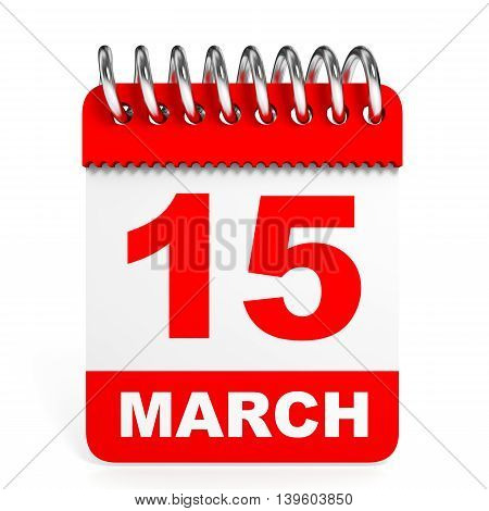 Calendar On White Background. 15 March.