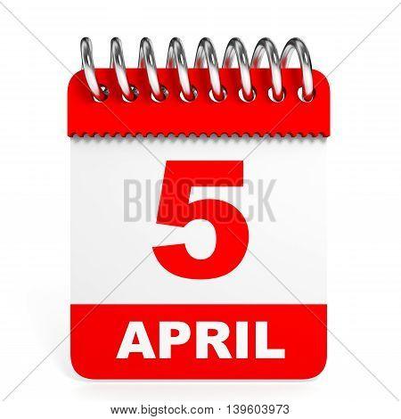 Calendar On White Background. 5 April.