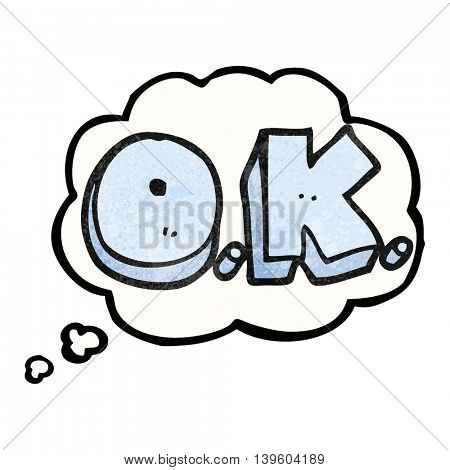 freehand drawn thought bubble textured cartoon word OK