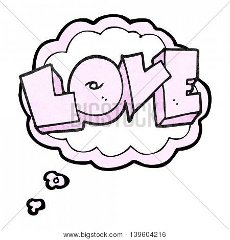 freehand drawn thought bubble textured cartoon love sign