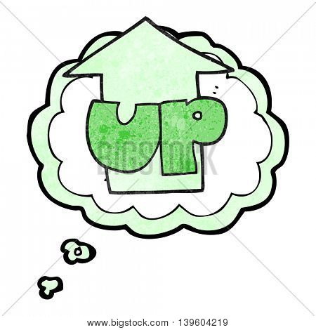 freehand drawn thought bubble textured cartoon up symbol