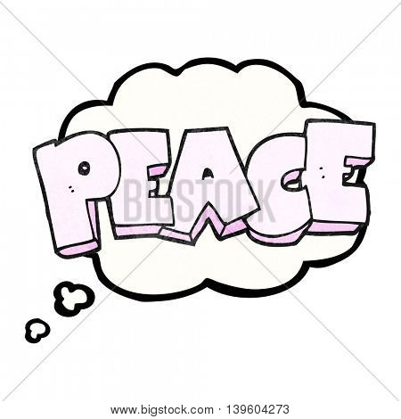 freehand drawn thought bubble textured cartoon word peace