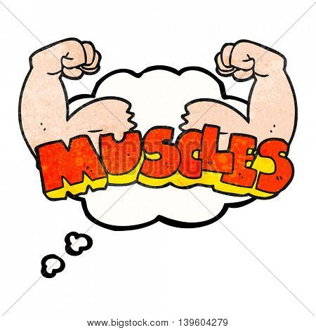 freehand drawn thought bubble textured cartoon muscles symbol