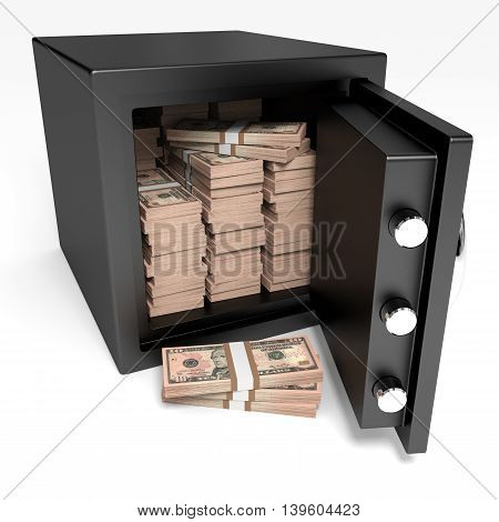 Opened Safe With Bank Notes. Ten Dollars.