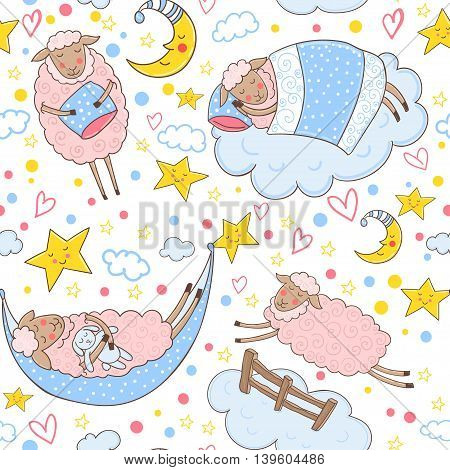 Seamless pattern with cute pink sheep sleeping on a cloud surrounded by stars and hearts.