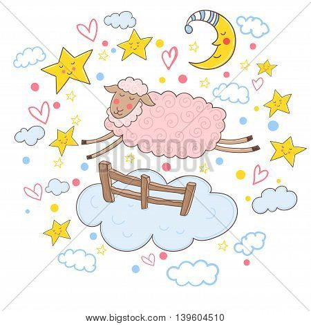 Cute pink sheep jumping over the fence. Vector illustration.
