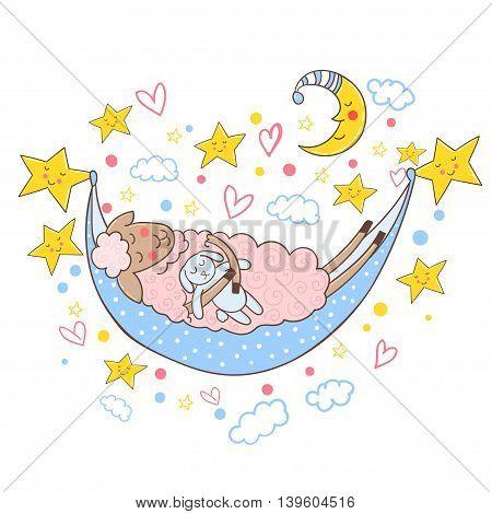 Cute sheep sleeping in a hammock with toy bunny. Vector illustration.
