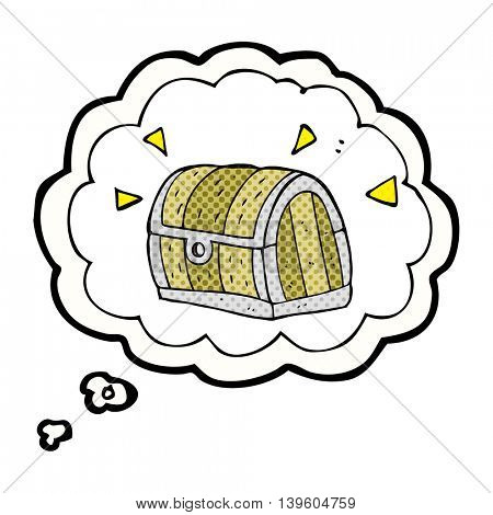 freehand drawn thought bubble cartoon treasure chest